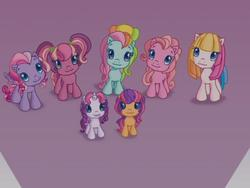 Size: 640x480 | Tagged: safe, cheerilee (g3), pinkie pie (g3), rainbow dash (g3), scootaloo (g3), starsong, sweetie belle (g3), toola roola, g3, g3.5, :3, cheeribetes, core seven, cute, cutealoo, dashabetes, diabetes, diapinkes, diasweetes, roolabetes, starsawwwng