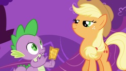 Size: 1920x1080 | Tagged: dead source, safe, screencap, applejack, spike, dragon, earth pony, season 1, the ticket master, gala ticket, out of context, smug, ticket