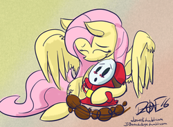 Size: 1000x736 | Tagged: 30 minute art challenge, artist:dzone16, blushing, crossover, cuddling, cute, eyes closed, fluttershy, hug, nintendo, :o, safe, shy guy, smiling, snuggling, struggling, super mario bros., super mario bros. 2
