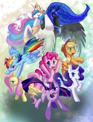 Size: 744x973   Tagged: safe, artist:whitephox, applejack, fluttershy, nightmare moon, pinkie pie, princess celestia, rainbow dash, rarity, twilight sparkle, mane six