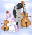 Size: 1150x1280 | Tagged: safe, artist:lamia, octavia melody, sweetie belle, alicorn, alicornified, angel, cello, clothes, costume, fake wings, musical instrument, race swap, sweetiecorn