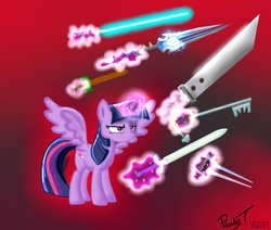 Size: 2600x2200 | Tagged: safe, artist:paulyt7, twilight sparkle, alicorn, pony, bastard sword, buster sword, did somebody say thunderfury blessed blade of the windseeker?, energy sword, energy weapon, female, final fantasy, final fantasy vii, frown, glare, glowing horn, halo (series), hax, hooves, horn, keyblade, kingdom hearts, levitation, lightsaber, magic, mare, master sword, solo, spread wings, star wars, sword, telekinesis, the legend of zelda, thunderfury, thunderfury blessed blade of the windseeker, twilight is not amused, twilight sparkle (alicorn), unamused, warcraft, weapon, wings, wooden sword, world of warcraft, you dun goofed