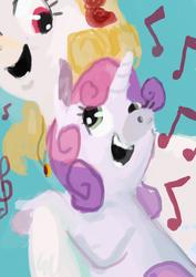 Size: 566x800 | Tagged: safe, artist:spectralunicorn, sweetie belle, oc, oc:yellowstar, singing