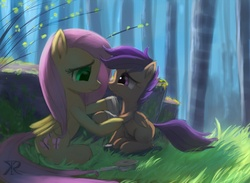 Size: 1200x880 | Tagged: safe, artist:raikoh, fluttershy, scootaloo, pony, bandage, fluttermom, forest, grass, injured, outdoors, scootalove, sitting, smiling