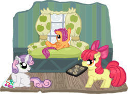 Size: 940x694 | Tagged: safe, artist:star--sprout, apple bloom, scootaloo, sweetie belle, bed, carrying, cookie, crayons, curtains, cutie mark crusaders, drawing, mouth hold, paper, side, sitting, snow, snowfall, tray, winter