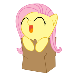 Size: 4000x4000 | Tagged: absurd res, artist:tateyfairrain, bag, chibi, cute, diabetes, eyes closed, fluttershy, happy, open mouth, paper bag, safe, shyabetes, simple background, smiling, solo, transparent background, vector, weapons-grade cute