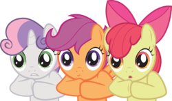 Size: 6006x3545 | Tagged: safe, artist:the-crusius, apple bloom, scootaloo, sweetie belle, one bad apple, cutie mark crusaders, reaction image, simple background, transparent background, vector