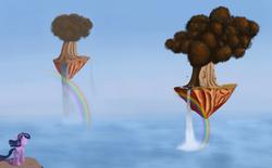 Size: 1618x1000 | Tagged: safe, artist:drakmire, twilight sparkle, alicorn, pony, female, floating island, mare, rainbow, solo, surreal, tree, twilight sparkle (alicorn), water