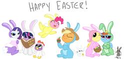 Size: 1280x610 | Tagged: safe, artist:aa, artist:elslowmo, angel bunny, applejack, fluttershy, pinkie pie, rainbow dash, rarity, spike, twilight sparkle, rabbit, apple, basket, book, bunny costume, bunny pie, bunny sparkle, bunnyjack, bunnyshy, chick, chicken suit, clothes, easter, easter apple, easter bunny, easter egg, food, mane seven, mane six, rabbit dash, rabbity, simple background, white background
