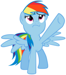 Size: 4680x5328 | Tagged: safe, artist:biodegradablebox, rainbow dash, lesson zero, :s, absurd resolution, cute, dashabetes, female, looking up, pointing, simple background, solo, spread wings, transparent background, vector, wavy mouth