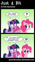 Size: 5000x8704 | Tagged: safe, artist:pony-berserker, pinkie pie, twilight sparkle, earth pony, pony, unicorn, comic:just a bit, 2013, absurd resolution, alternate style, asking, comic, confused, dialogue, duo, duo female, english, exclamation point, female, floppy ears, frown, gradient background, inkscape, interrobang, lidded eyes, looking at each other, looking at you, mare, pointing, ponyscape, question mark, raised hoof, raised leg, speech bubble, standing, talking, thinking, vector, wondering