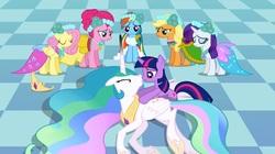 Size: 1255x702   Tagged: safe, screencap, applejack, fluttershy, pinkie pie, princess celestia, rainbow dash, rarity, twilight sparkle, alicorn, earth pony, pegasus, pony, unicorn, a canterlot wedding, bridesmaid dress, clothes, dress, female, mane six, out of context, royal wedding, sad