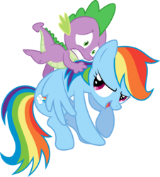 Size: 2986x3304 | Tagged: safe, artist:sulyo, rainbow dash, spike, pony, female, male, rainbowspike, riding, rodeo, shipping, straight