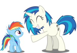 Size: 8000x5515   Tagged: safe, artist:deratrox, dj pon-3, rainbow dash, vinyl scratch, pegasus, pony, unicorn, absurd resolution, age regression, blank flank, cutie mark, eyes closed, female, filly, filly rainbow dash, foal, hooves, horn, mare, simple background, smiling, spread wings, teeth, transparent background, vector, wings, younger