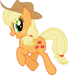 Size: 6000x6543 | Tagged: safe, artist:cooltomorrowkid, applejack, absurd resolution, cute, female, happy, simple background, solo, transparent background, trotting, vector