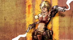 Size: 3400x1875 | Tagged: safe, artist:el-creepo, applejack, human, badass, bandaid, breasts, bruised, busty applejack, cleavage, clothes, confederate flag, dog tags, dual wield, female, frown, gloves, gun, holster, humanized, midriff, panties, revolver, shotgun shell, smoking gun, tattoo, thong, underwear, wallpaper, weapon