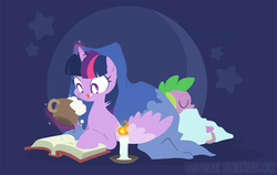 Size: 1200x756 | Tagged: safe, artist:egophiliac, spike, twilight sparkle, alicorn, pony, blanket, book, candle, coffee, cup, drink, female, mare, reading, sleeping, tongue out, twilight sparkle (alicorn)