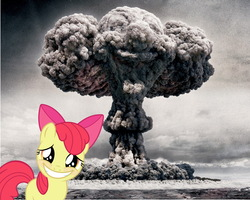Size: 1280x1024 | Tagged: safe, artist:naihutsu92, edit, apple bloom, blushing, disaster girl, embarrassed, faic, mushroom cloud, nuclear weapon, smiling