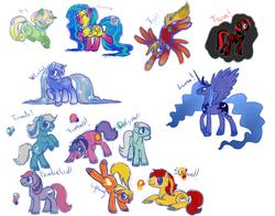 Size: 1000x783   Tagged: safe, artist:sagawolf, fireball (g1), ice crystal, princess luna, sunburst, thundercloud (g1), tornado (g1), oc, oc:fall, oc:spring, oc:summer, oc:winter, alicorn, earth pony, pegasus, pony, unicorn, g1, autumn, bipedal, bracelet, bucking, cute, eyes closed, female, flying, g1 to g4, generation leap, grin, happy, lightning, male, mare, necklace, open mouth, ponified, prone, raised hoof, raised leg, rearing, smiling, spread wings, spring, stallion, tron