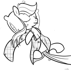 Size: 777x768 | Tagged: applejack, artist:nasse, clothes, pillow, plaid, safe, shirt, sleeping