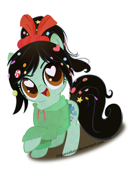 Size: 3510x4500   Tagged: safe, artist:drpancakees, clothes, hairband, heart eyes, hoodie, ponified, solo, sugar rush, vanellope von schweetz, wingding eyes, wreck-it ralph
