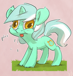 Size: 1452x1500 | Tagged: safe, artist:atryl, lyra heartstrings, pony, unicorn, :p, :t, chest fluff, colored pupils, cute, derp, ear fluff, ear tufts, eyelashes, female, fluffy, grass, leg fluff, mare, onomatopoeia, pink background, puffy cheeks, raspberry, raspberry noise, silly, silly pony, simple background, smiling, solo, spittle, standing, tongue out, wat