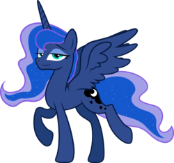 Size: 6109x5706 | Tagged: dead source, safe, artist:kp-shadowsquirrel, artist:quanno3, princess luna, absurd resolution, lidded eyes, missing accessory, simple background, smug, solo, transparent background, vector