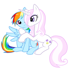 Size: 2000x2000 | Tagged: safe, artist:shark-sheep, fleur-de-lis, rainbow dash, female, fleurdash, lesbian, shipping, skunk stripe