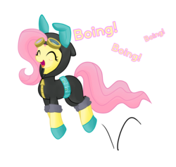 Size: 3164x3000   Tagged: safe, artist:hidden-cat, fluttershy, pegasus, pony, magic duel, blushing, boing, bunny ears, bunnyshy, clothes, costume, cute, dangerous mission outfit, eyes closed, female, goggles, hoodie, hopping, jumping, mare, open mouth, pronking, shyabetes, simple background, smiling, solo, transparent background