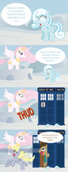 Size: 2050x5199 | Tagged: safe, artist:t-3000, derpy hooves, doctor whooves, princess celestia, time turner, oc, oc:snowdrop, pegasus, pony, bad end, comic, dark comedy, doctor who, female, mare, mood whiplash, pink-mane celestia, tardis, we are going to hell