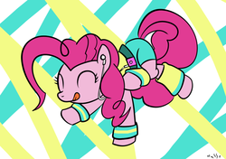 Size: 972x684 | Tagged: safe, artist:nasse, pinkie pie, 80s, dancing, headband, leg warmers, workout outfit, wristband