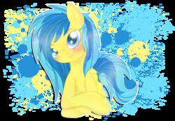 Size: 2600x1800 | Tagged: safe, artist:pastelflakes, oc, oc only, oc:blueberry blitz, pegasus, pony, blushing, solo