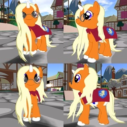 Size: 1600x1600 | Tagged: safe, oc, oc only, oc:dreamsicle, cape, clothes, cutie mark crusaders, diaper, filly, foal, glasses, second life