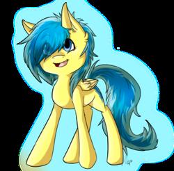 Size: 900x887 | Tagged: safe, artist:laspada, oc, oc only, oc:blueberry blitz, pegasus, pony, happy, solo