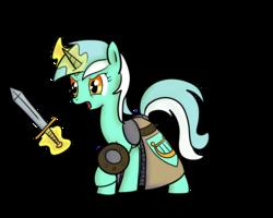 Size: 1280x1024 | Tagged: safe, artist:krabbshack, artist:nasse, lyra heartstrings, armor, buckler, chainmail, magic, shield, simple background, sword, telekinesis, transparent background