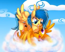 Size: 1250x1000 | Tagged: safe, artist:ieatedaunicorn, oc, oc only, oc:blueberry blitz, oc:thunderstrike, pegasus, pony, cloud, cloudy, happy, playing