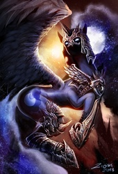 Size: 817x1200 | Tagged: safe, artist:ziom05, nightmare moon, alicorn, pony, antagonist, armor, color porn, epic, ethereal mane, featured image, female, flying, galaxy mane, glowing eyes, mare, moon, nightmare dupe, solo, spread wings, technically advanced