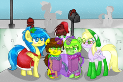 Size: 1500x1000 | Tagged: safe, artist:kasukamachikyu, oc, oc only, oc:apple cake, oc:blueberry blitz, oc:damien lyhric, oc:lanna banana, oc:rain painter, pegasus, pony, carol, christmas, christmas carols, glasses, hat, hearth's warming eve, holly, magic, mailbox, music notes, santa hat, singing, snow, snowfall, telekinesis, winter