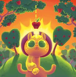 Size: 1860x1888 | Tagged: safe, artist:hamigaki-momo, applejack, apple, solo, sun, surreal, sweet apple acres, tree
