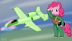 Size: 1750x992 | Tagged: safe, artist:phallen1, gummy, pinkie pie, pony, a-10 thunderbolt ii, autocannon, bipedal, clothes, flight suit, gau-8, helmet, party cannon, pilot, plane, salute