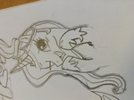 Size: 2592x1936 | Tagged: safe, artist:dassboshit, princess celestia, alicorn, bust, crown, female, hoof shoes, jewelry, mare, monochrome, one eye closed, open mouth, photo, regalia, sketch, smiling, solo, traditional art