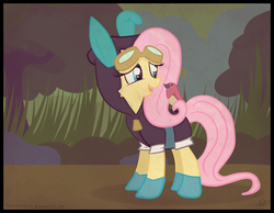 Size: 3994x3100   Tagged: safe, artist:balloons504, fluttershy, bird, pegasus, pony, bunny ears, clothes, dangerous mission outfit, female, goggles, hoodie, mare, open mouth, solo