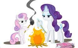 Size: 1920x1200   Tagged: safe, artist:7doran, rarity, sweetie belle, pony, unicorn, bipedal, campfire, cannibalism, cooking, fire, food, lidded eyes, marshmallow, murder, rarity is a marshmallow, rarity using marshmallows, roasting, sweetie belle can't cook, sweetie belle is a marshmallow too, sweetie belle using marshmallows, sweetie fail