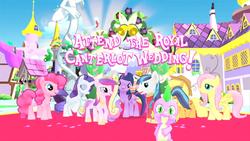 Size: 1280x720   Tagged: safe, applejack, discord, fluttershy, pinkie pie, princess cadance, rarity, shining armor, spike, twilight sparkle, alicorn, butterfly, dragon, earth pony, pegasus, pony, unicorn, official, 3d, canterlot, female, game screencap, gameloft, male, mare, stallion, statue discord, unicorn twilight, wedding
