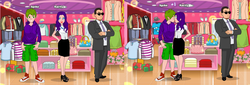 Size: 1270x430   Tagged: safe, rarity, spike, bodyguard, clothes, female, hat, hoodie, humanized, kissing, male, mall, necktie, older, present, purse, secret service, shop, sparity, store, straight, suit, sunglasses, wat
