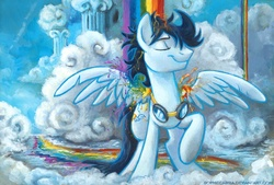 Size: 934x633 | Tagged: safe, artist:kenket, artist:spainfischer, soarin', pegasus, pony, acrylic painting, cloudsdale, eyes closed, featured image, goggles, male, messy mane, old cutie mark, rainbow, raised hoof, shower, smiling, solo, spread wings, stallion, stupid sexy soarin', traditional art, wet, wet mane