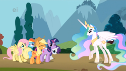 Size: 1366x768 | Tagged: safe, screencap, applejack, fluttershy, princess celestia, rainbow dash, rarity, twilight sparkle, alicorn, earth pony, pegasus, pony, unicorn, swarm of the century, :t, bowing, crown, ei, ethereal mane, eyes closed, female, floppy ears, frown, glare, grin, gritted teeth, hoof shoes, hub logo, jewelry, looking up, mare, meme origin, nervous, origins, peytral, raised hoof, regalia, smiling, spread wings, twiface, unicorn twilight, wide eyes, wrong neighborhood