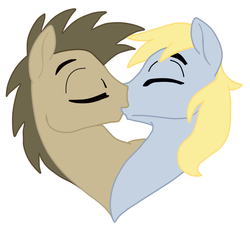 Size: 920x831 | Tagged: safe, artist:cloud racer, artist:quartz-poker, edit, derpy hooves, doctor whooves, time turner, colored, dopey hooves, dopeydoctor, gay, half r63 shipping, kissing, male, rule 63, shipping