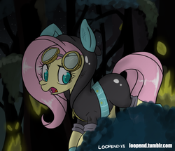 Size: 1000x858 | Tagged: safe, artist:pijinpyon, fluttershy, pegasus, pony, bunny ears, clothes, dangerous mission outfit, female, goggles, hoodie, mare, open mouth, solo