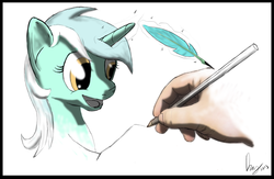 Size: 1024x666 | Tagged: safe, artist:dragmodnotloc, lyra heartstrings, human, creation, drawing, drawn into existence, fourth wall, hand, hand fetish, happy, sketch, smiling, that pony sure does love hands